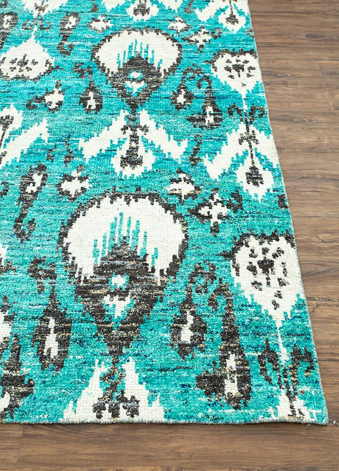 verna blue others hand knotted Rug - Corner