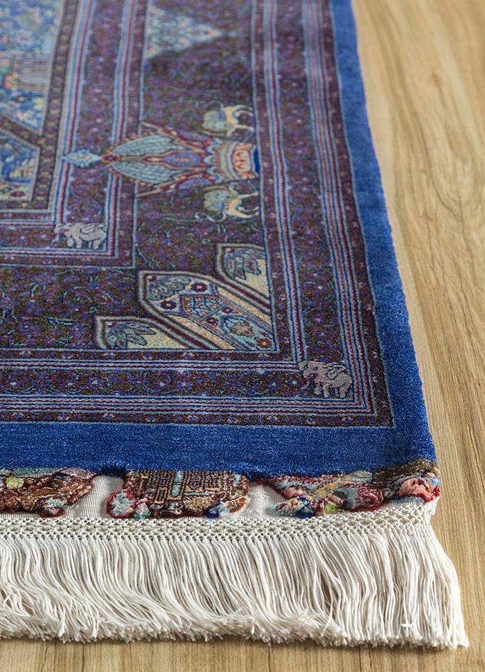 iranian blue silk hand knotted Rug - Corner
