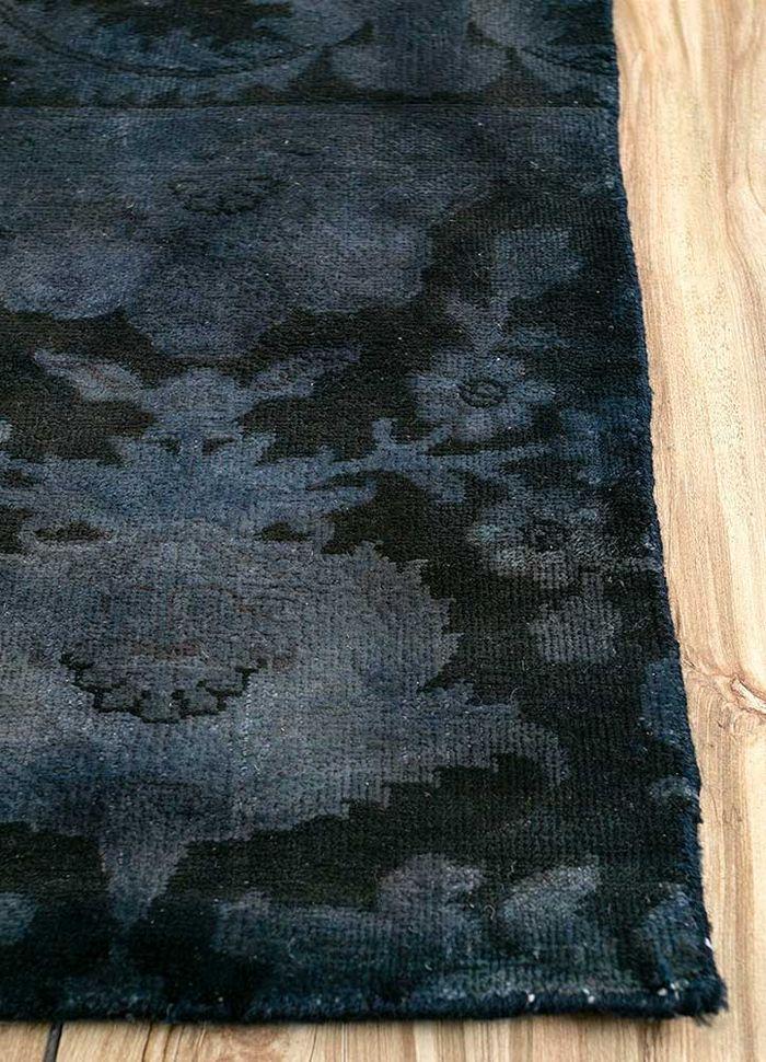 aprezo blue wool patchwork Rug - Corner