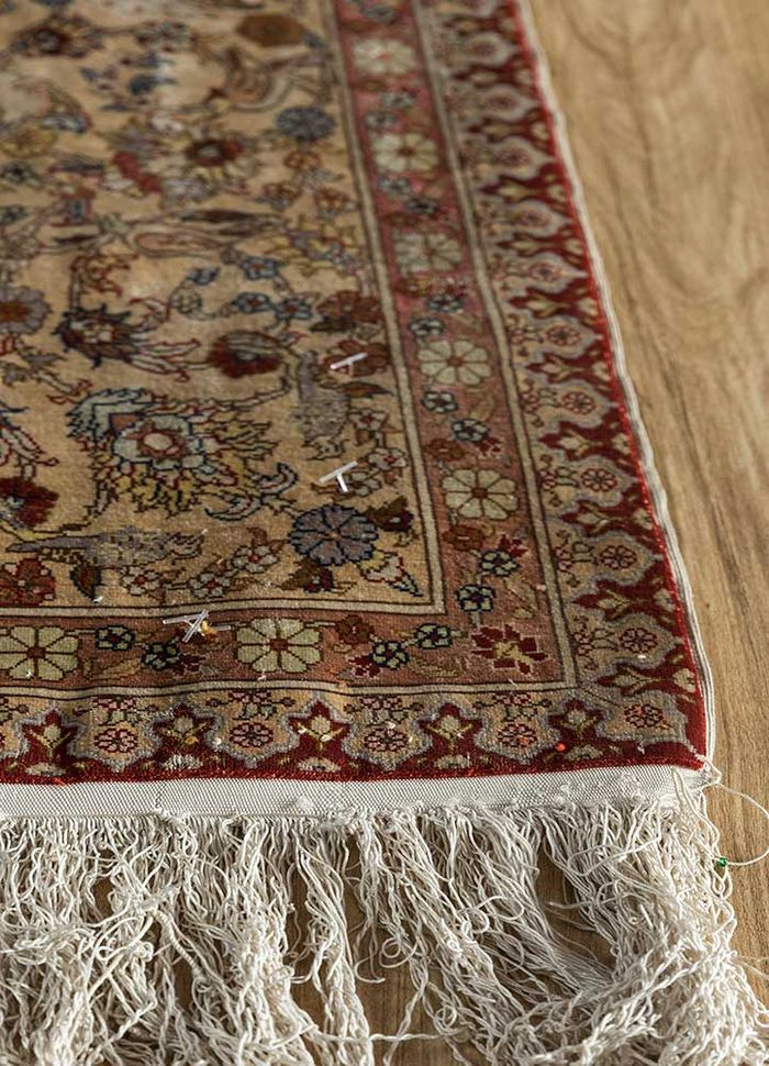 antique red and orange silk hand knotted Rug - Corner