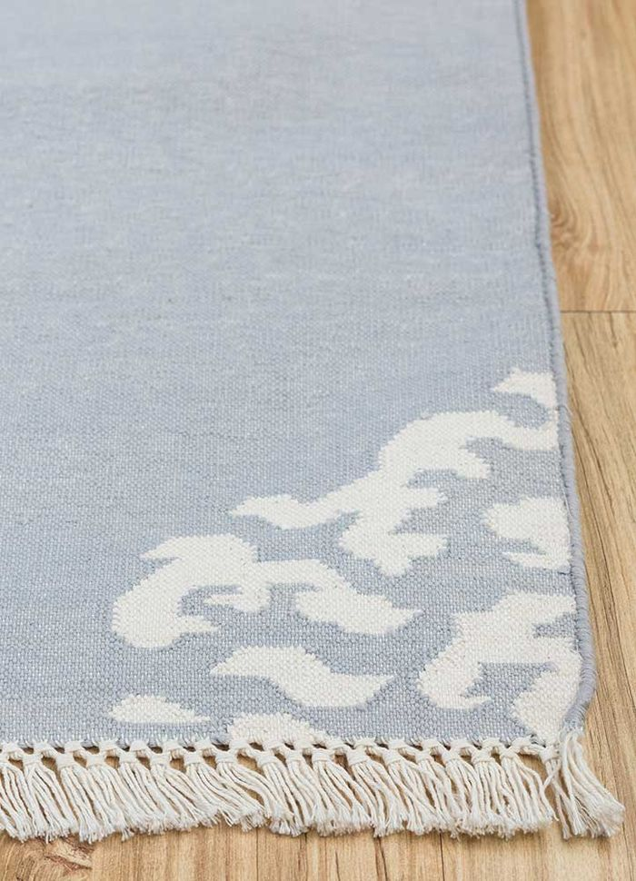 heritage grey and black cotton flat weaves Rug - Corner
