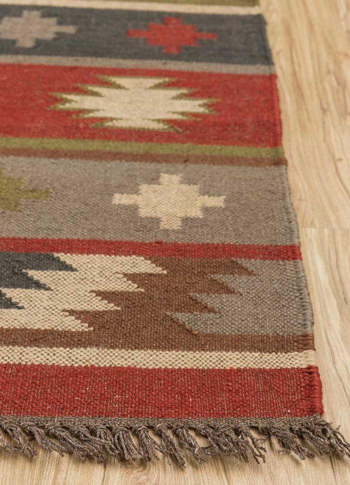 bedouin red and orange jute and hemp flat weaves Rug - Corner