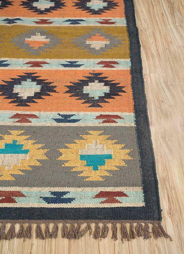 bedouin grey and black jute and hemp flat weaves Rug - Corner