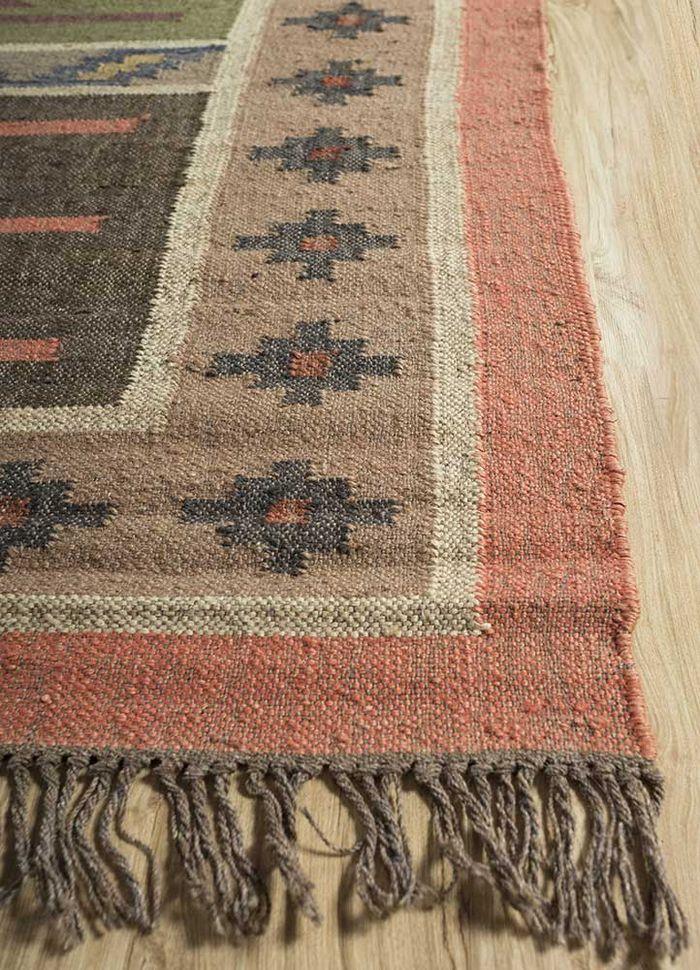 bedouin pink and purple jute and hemp flat weaves Rug - Corner