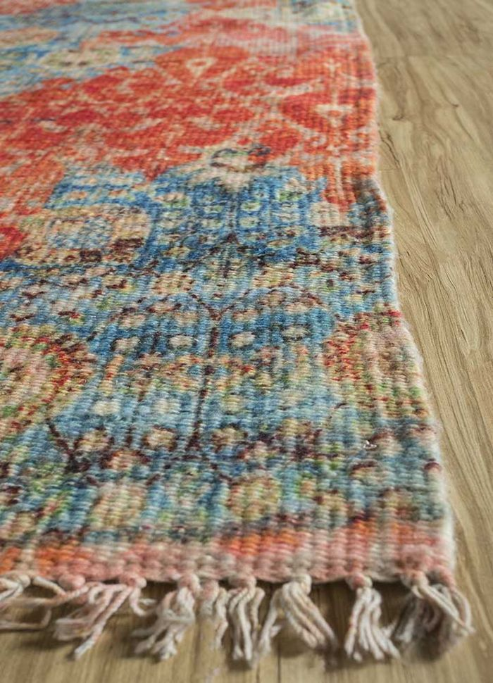 heritage pink and purple others flat weaves Rug - Corner