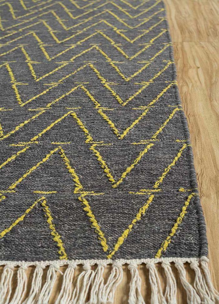 abrash beige and brown wool flat weaves Rug - Corner
