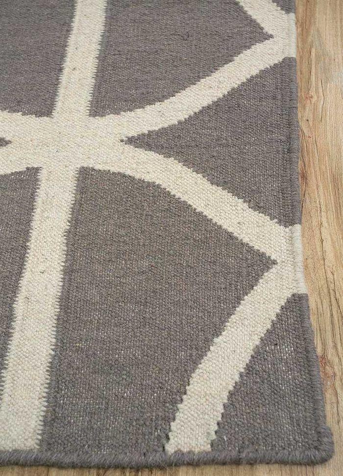 anatolia beige and brown wool flat weaves Rug - Corner