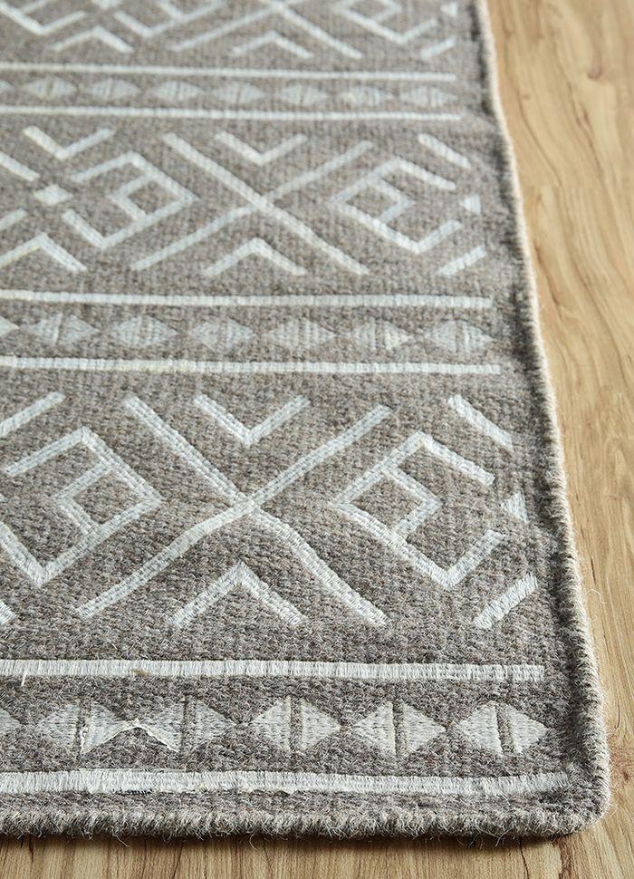 souk beige and brown wool and viscose flat weaves Rug - Corner