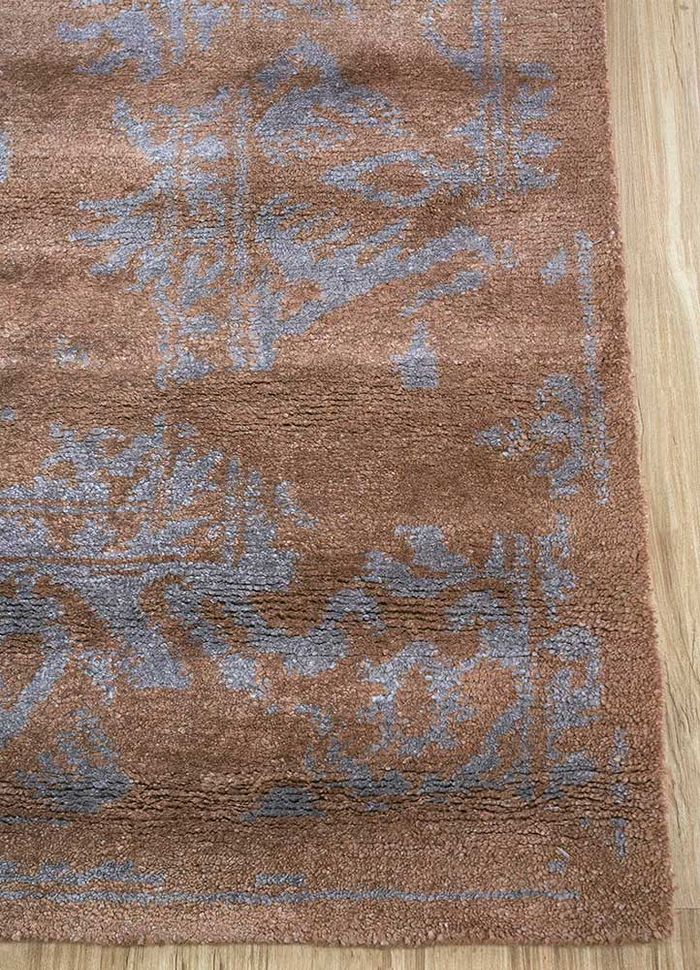 mezcla beige and brown bamboo silk hand knotted Rug - Corner