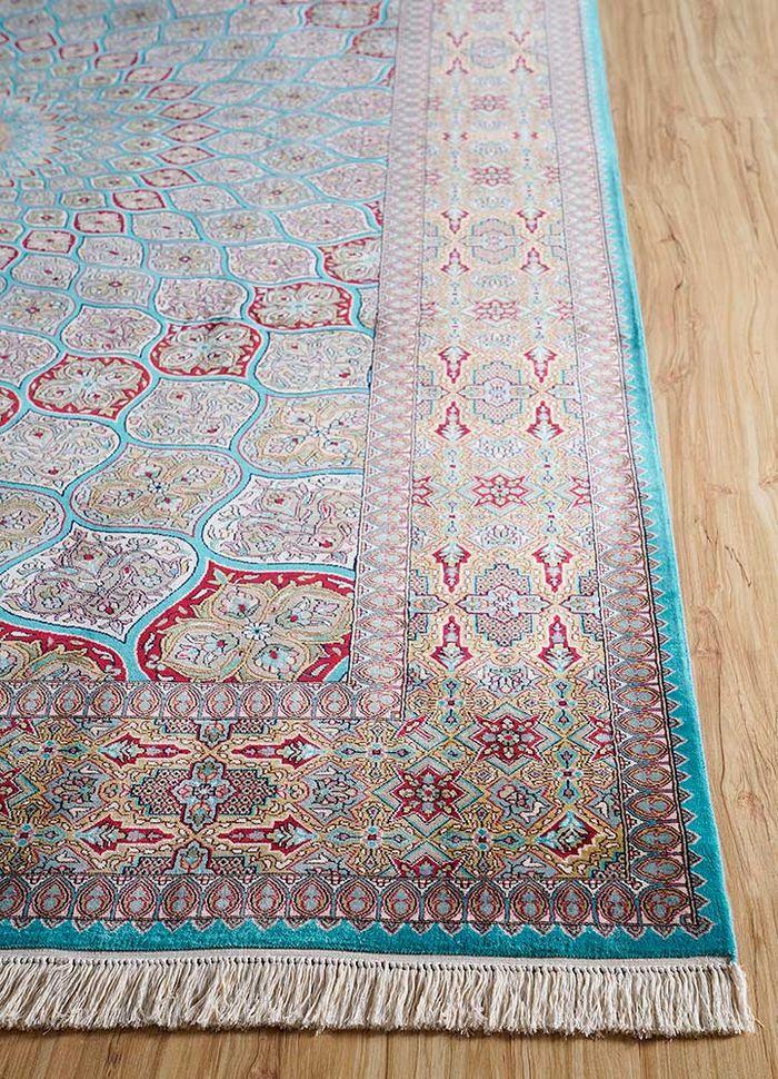 gulmarg blue silk hand knotted Rug - Corner