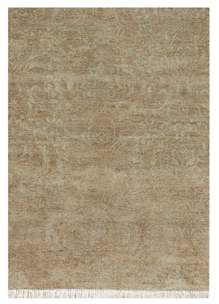 floret beige and brown wool and silk hand knotted Rug - Corner