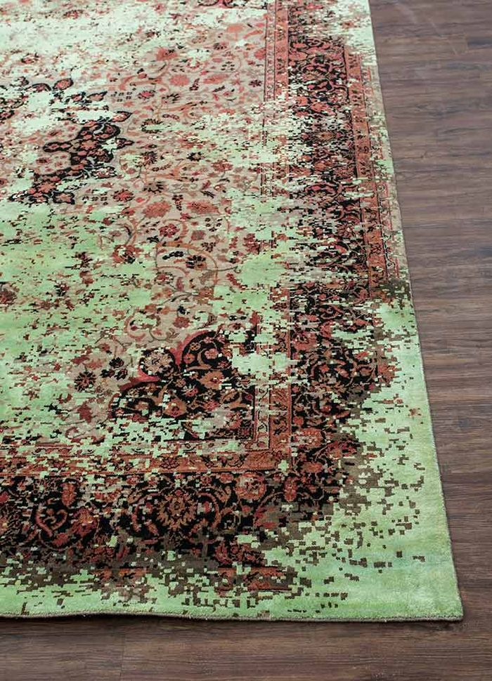 far east beige and brown wool and silk hand knotted Rug - Corner