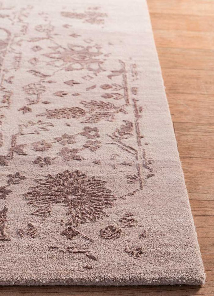 far east pink and purple wool and silk hand knotted Rug - Corner