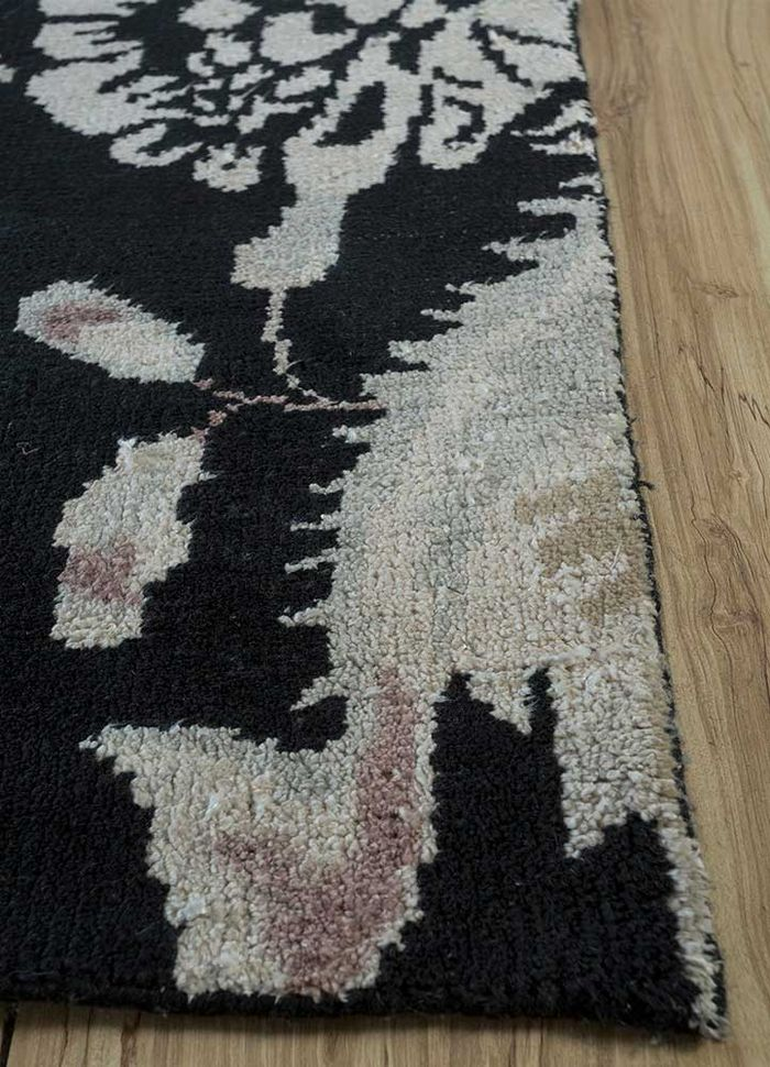 esme grey and black wool and bamboo silk hand knotted Rug - Corner