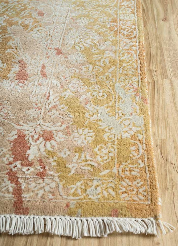 far east red and orange wool and bamboo silk hand knotted Rug - Corner