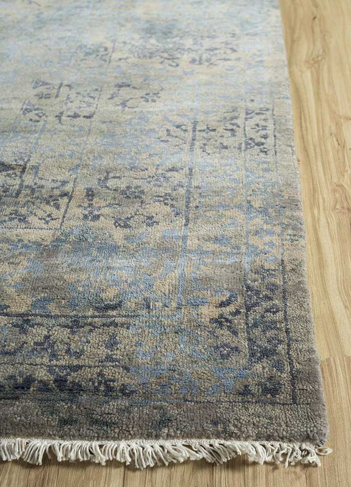 blithe blue wool and bamboo silk hand knotted Rug - Corner