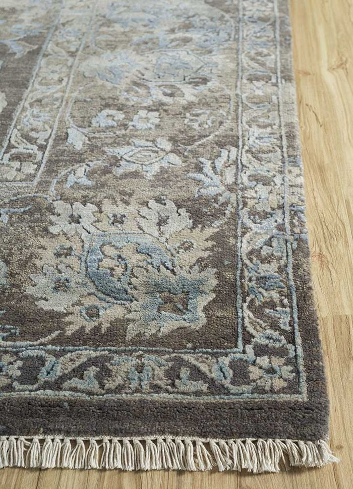 floret grey and black wool and bamboo silk hand knotted Rug - Corner