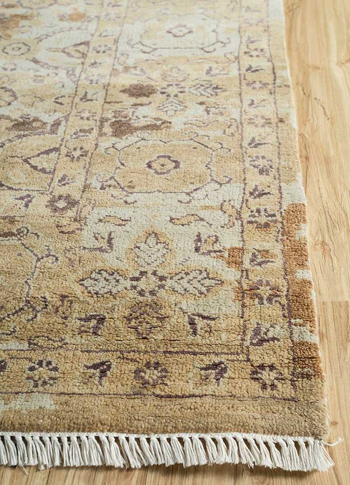 floret beige and brown wool and bamboo silk hand knotted Rug - Corner