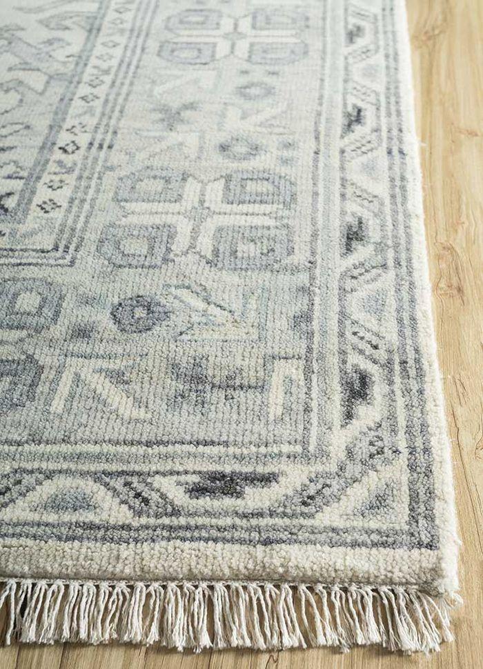 mezcla ivory wool hand knotted Rug - Corner