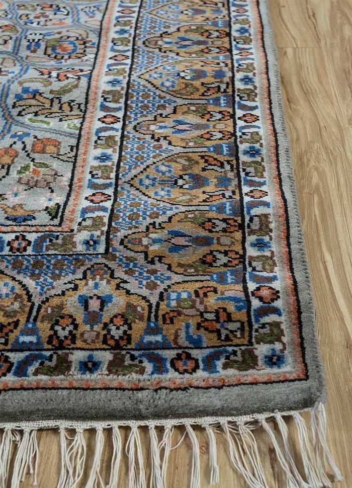 amani blue wool hand knotted Rug - Corner
