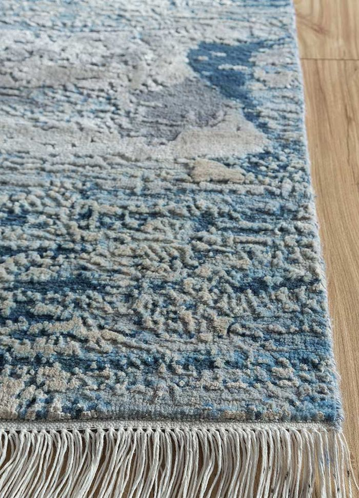 kibrast grey and black wool and silk hand knotted Rug - Corner