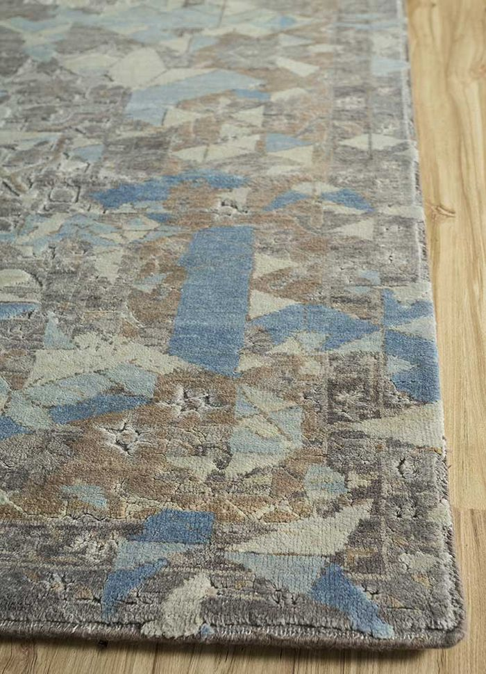 far east grey and black wool and silk hand knotted Rug - Corner