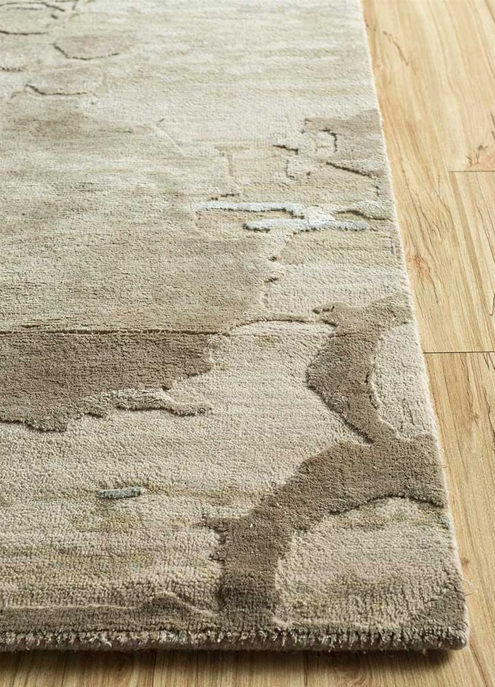 pansy beige and brown wool and silk hand knotted Rug - Corner