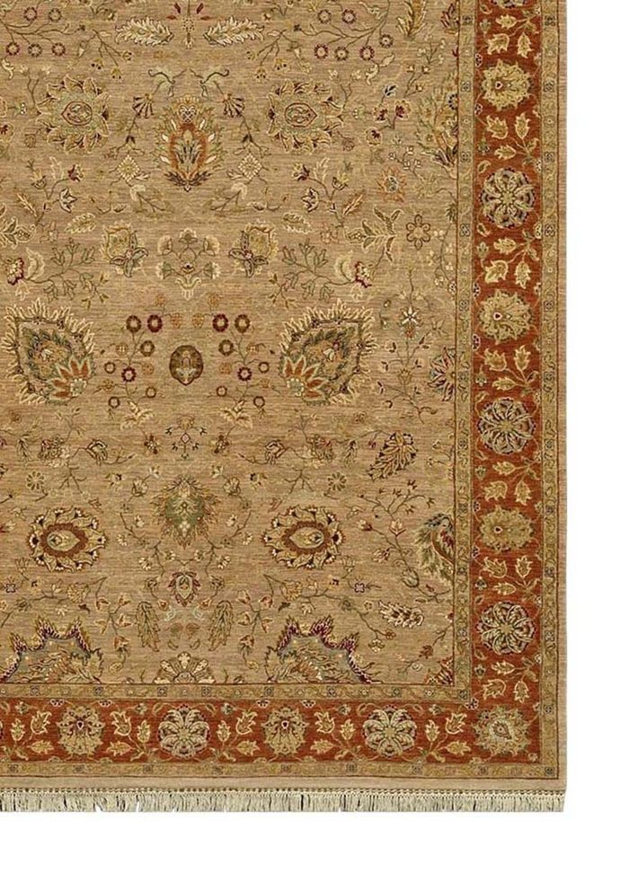 biscayne beige and brown wool hand knotted Rug - Corner
