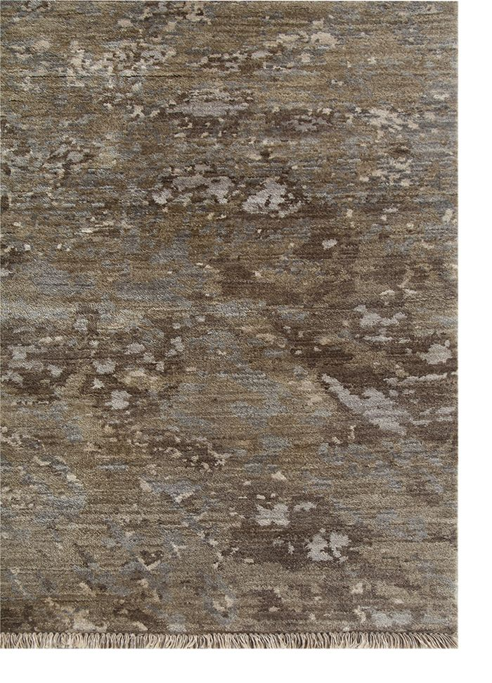 pansy grey and black wool hand knotted Rug - Corner