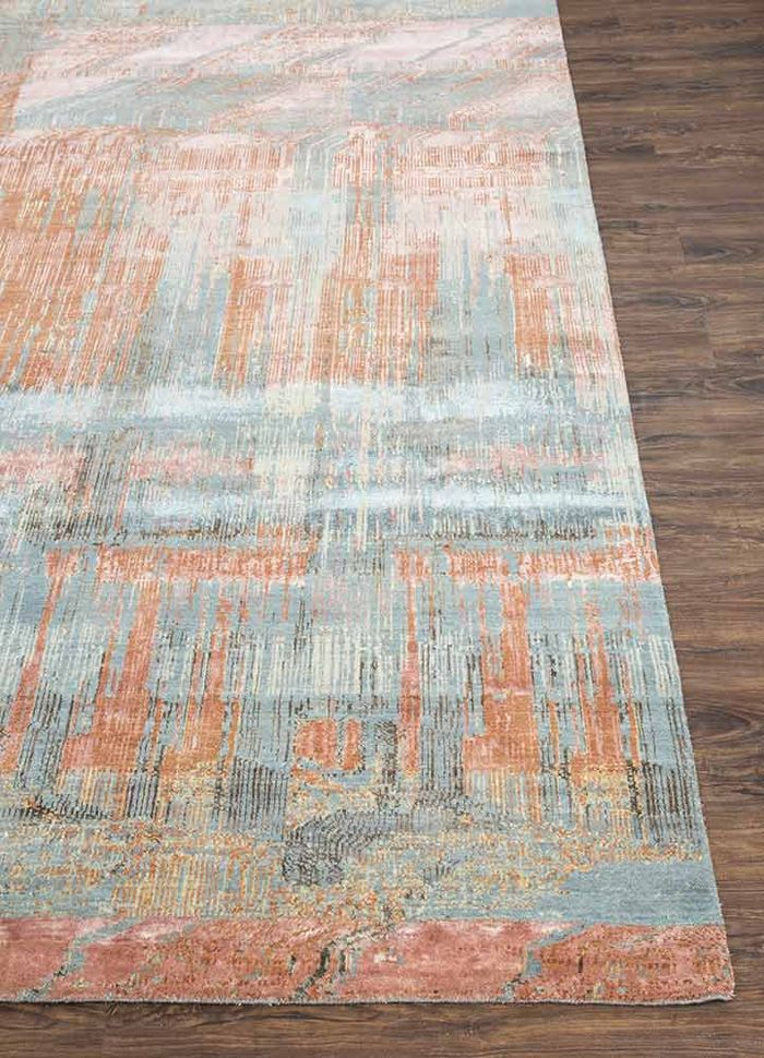 unstring by kavi blue wool and bamboo silk hand knotted Rug - Corner