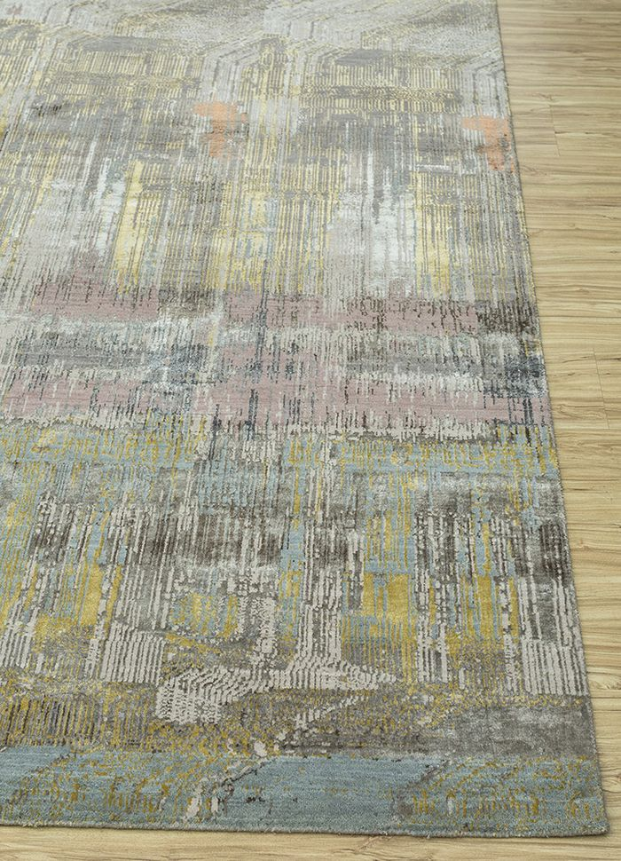 unstring by kavi grey and black wool and bamboo silk hand knotted Rug - Corner