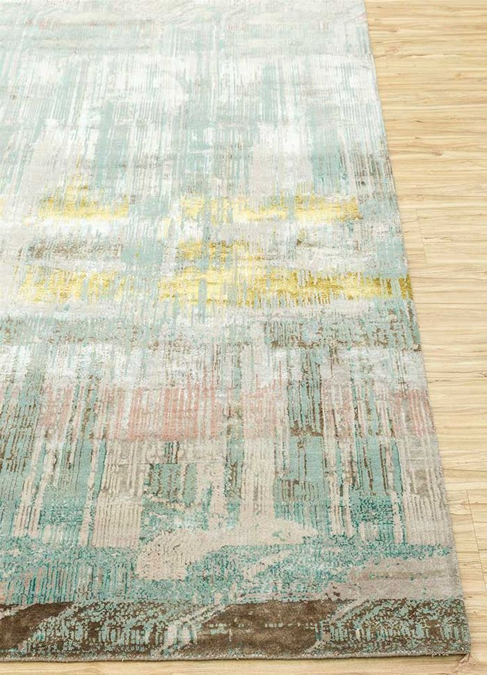 unstring by kavi ivory wool and bamboo silk hand knotted Rug - Corner