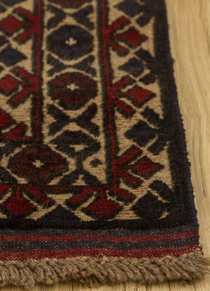 vintage beige and brown wool hand knotted Rug - Corner