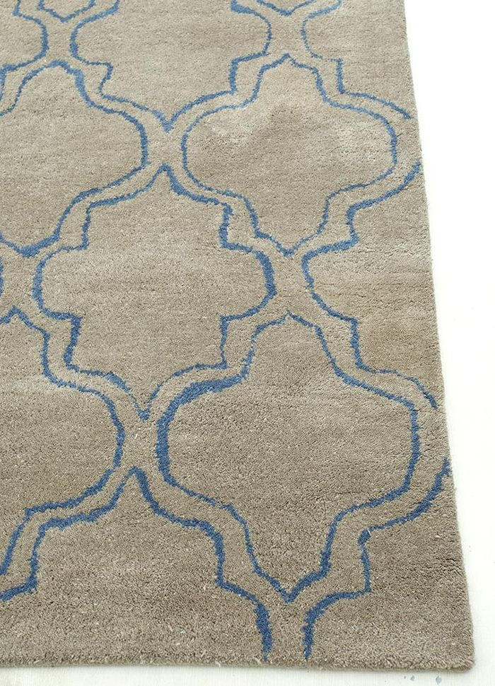 contour beige and brown wool hand tufted Rug - Corner