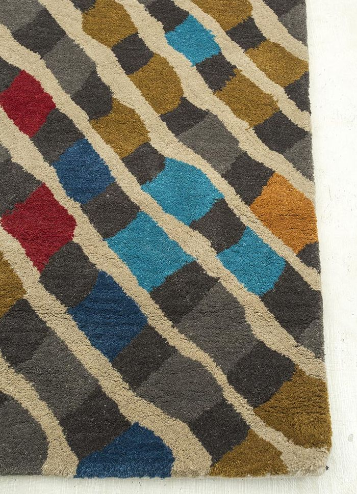 confetti beige and brown wool hand tufted Rug - Corner