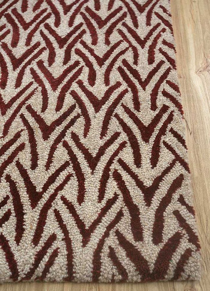 decade beige and brown wool hand tufted Rug - Corner