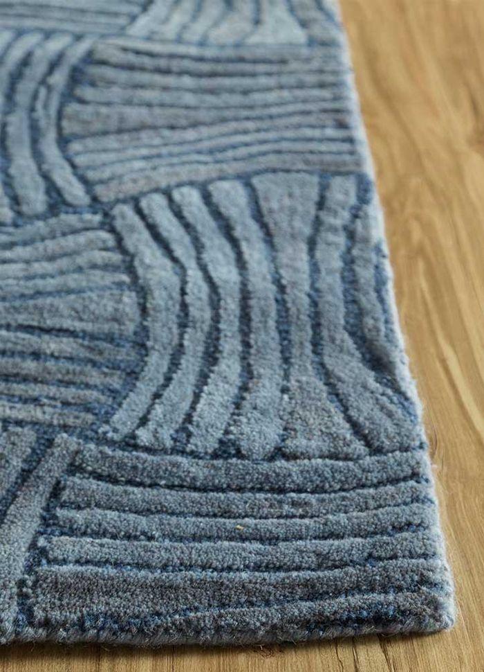 decade blue wool hand tufted Rug - Corner