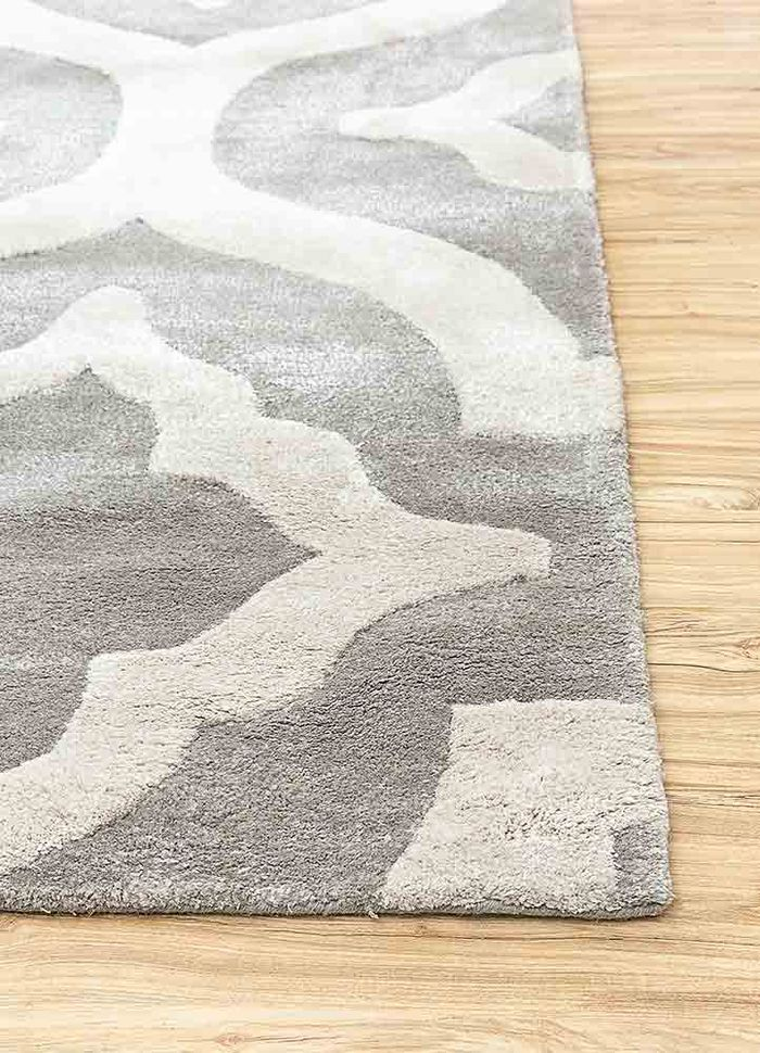 contour grey and black wool and viscose hand tufted Rug - Corner