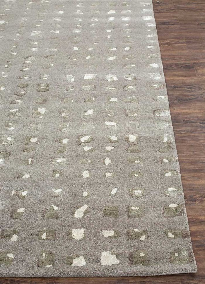 transcend grey and black wool and viscose hand tufted Rug - Corner