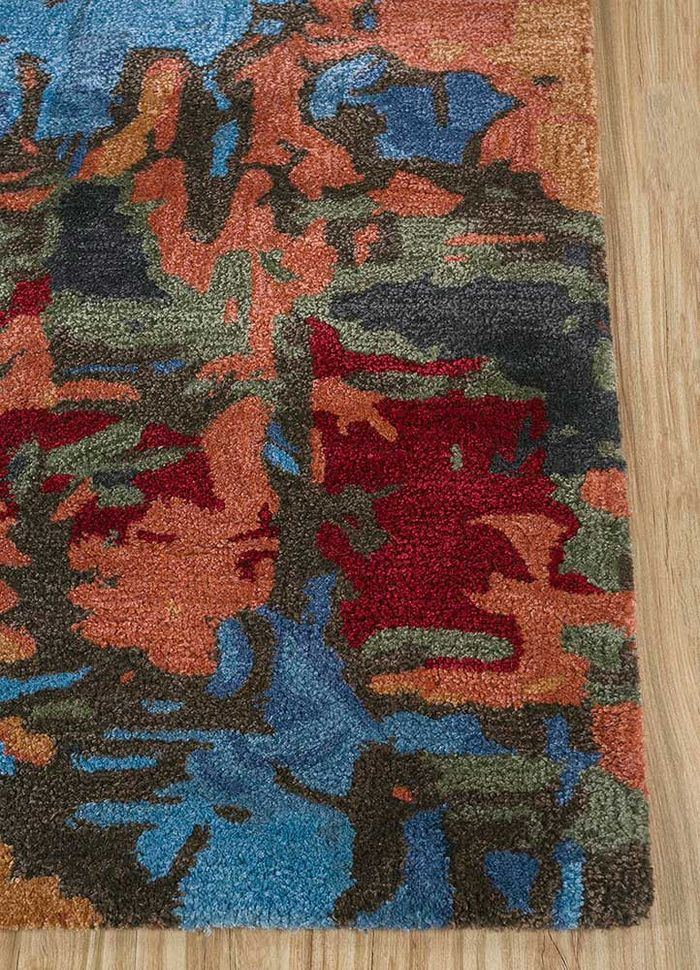 genesis red and orange wool and viscose hand tufted Rug - Corner