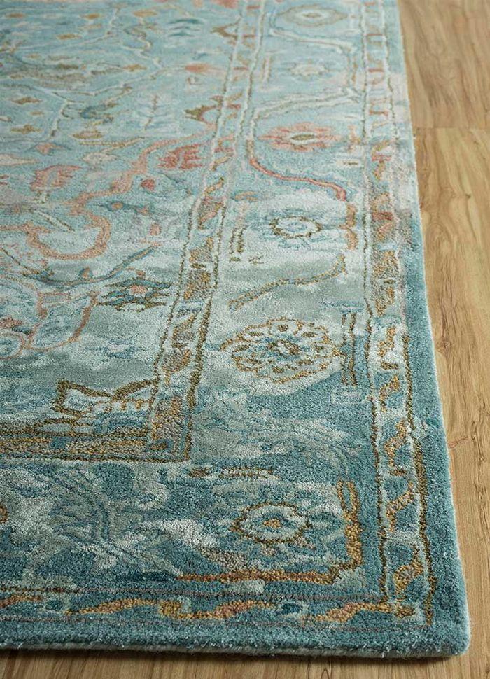 kilan blue wool and viscose hand tufted Rug - Corner