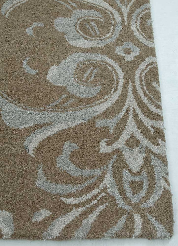 inspired by jennifer adams beige and brown wool and viscose hand tufted Rug - Corner