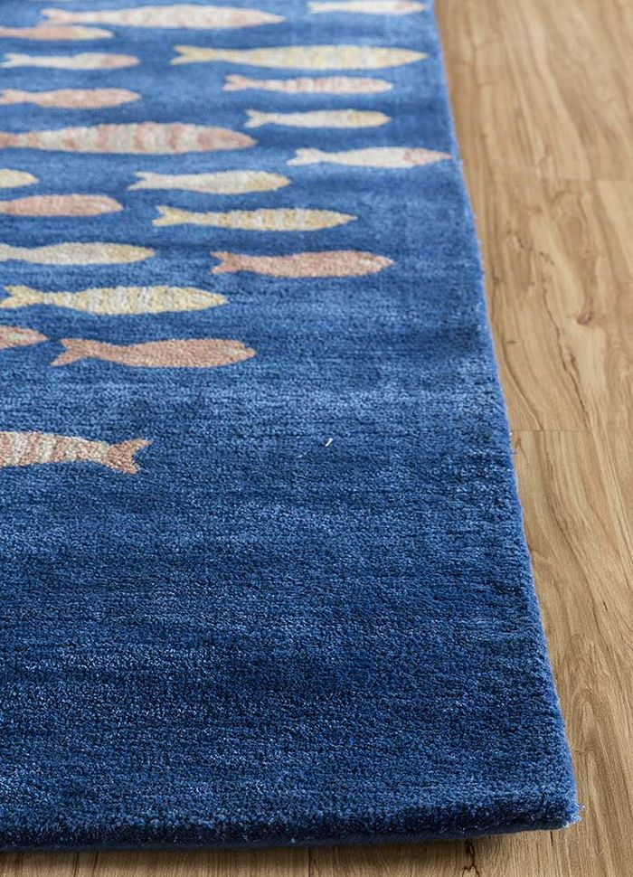 confetti blue wool and viscose hand tufted Rug - Corner