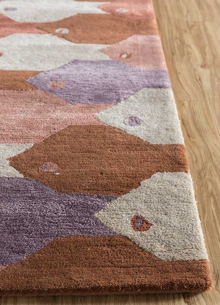 confetti red and orange wool and viscose hand tufted Rug - Corner