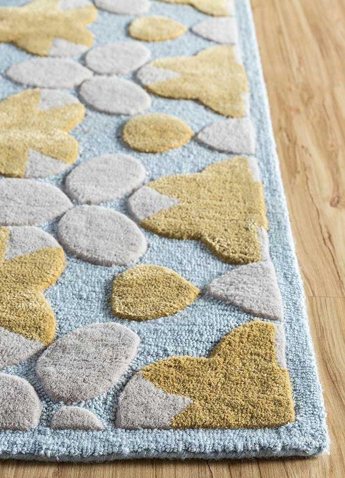 jaipur wunderkammer blue wool and viscose hand tufted Rug - Corner