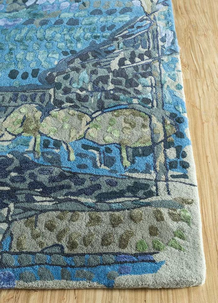 reminiscence blue wool and viscose hand tufted Rug - Corner
