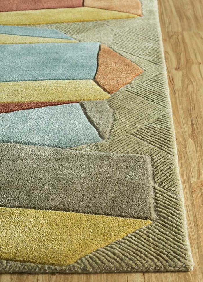 archetype gold wool and viscose hand tufted Rug - Corner