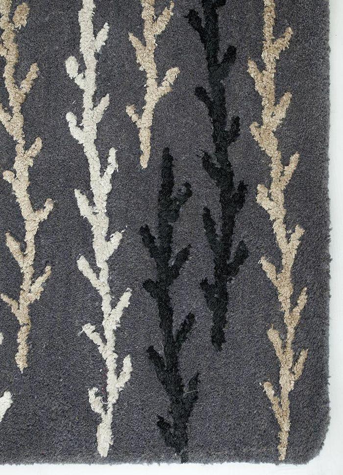 coastal grey and black wool and viscose hand tufted Rug - Corner
