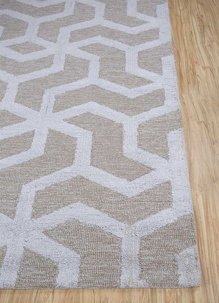 contour ivory wool and viscose hand tufted Rug - Corner