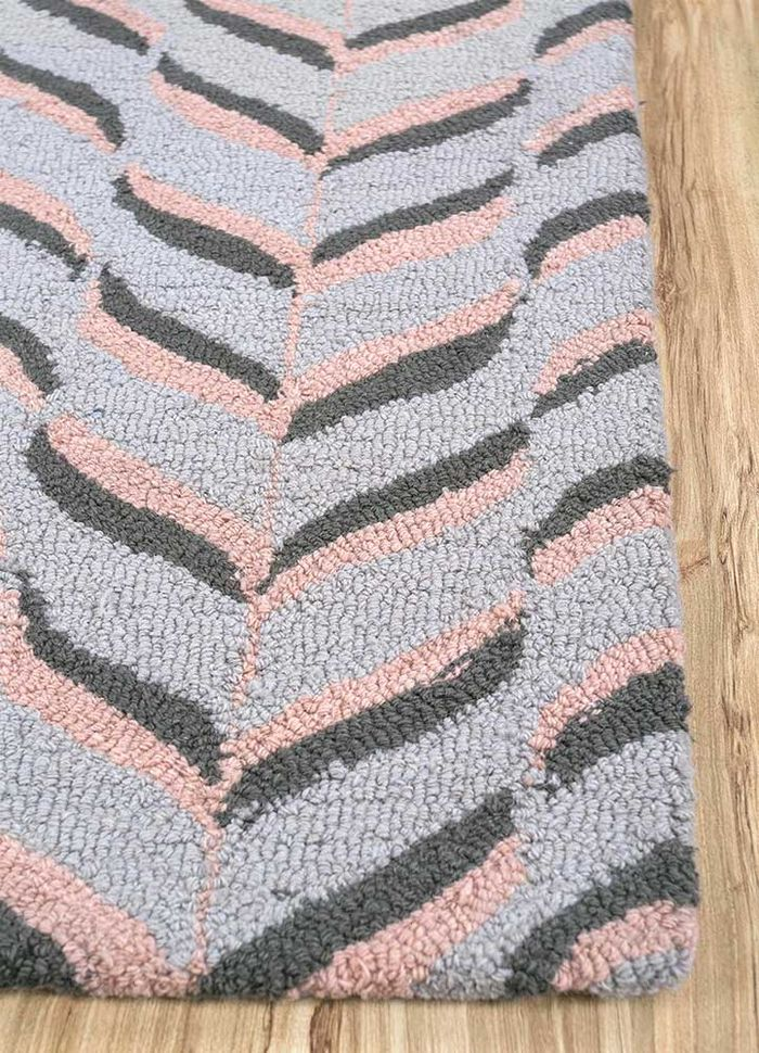 coastal grey and black wool hand tufted Rug - Corner